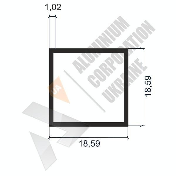 Алюминиевая труба квадратная | 18,59х18,59х1,02 - АН 04-0042