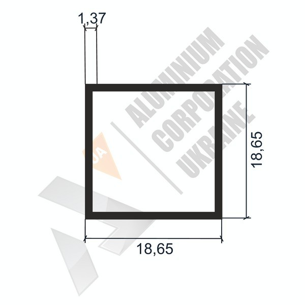 Алюминиевая труба квадратная | 18,65х18,65х1,37 - АН АК-2233-47