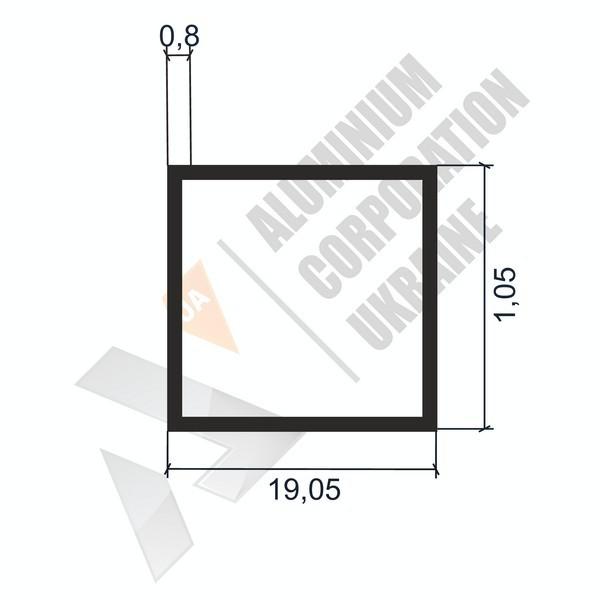 Алюминиевая труба квадратная   19,05х19,05х0,8 - БП 03-0049