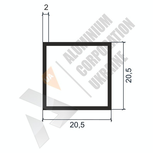 Алюминиевая труба квадратная | 20,5х20,5х2 - БП АК-2243-73