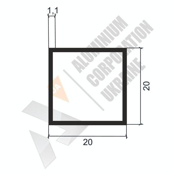 Алюминиевая труба квадратная | 20х20х1,1 - АН АК-2238-63