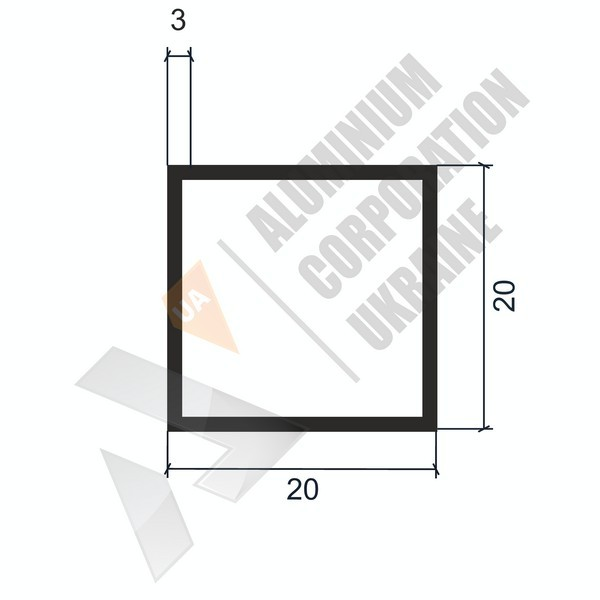 Алюминиевая труба квадратная | 20х20х3 - БП Б-1245-68