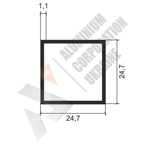 Алюминиевая труба квадратная | 24,7х24,7х1,1 - БП SX-GY1149-77