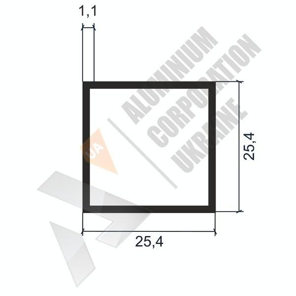 Алюминиевая труба квадратная | 25,4х25,4х1,1 - АН 04-0098