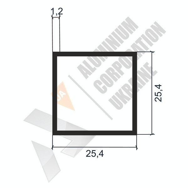 Алюминиевая труба квадратная   25,4х25,4х1,2 - АН 04-0099
