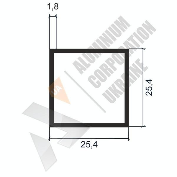 Алюминиевая труба квадратная   25,4х25,4х1,8 - АН 04-0100