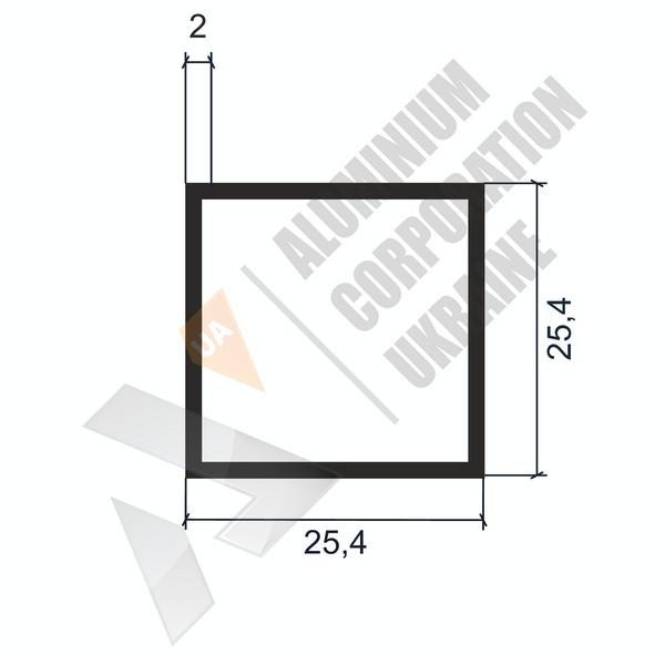 Алюминиевая труба квадратная   25,4х25,4х2 - АН 04-0101