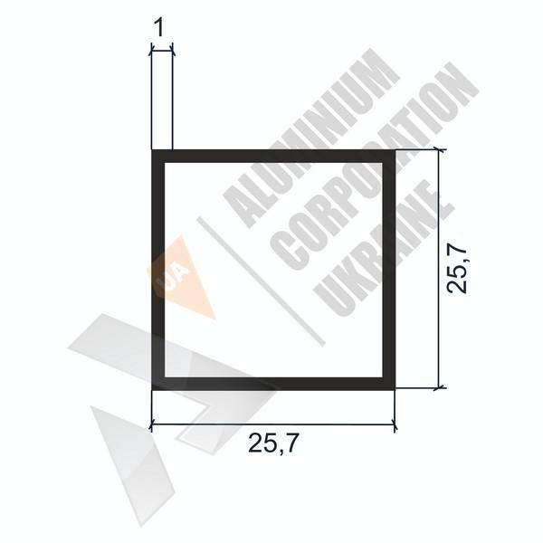 Алюминиевая труба квадратная | 25,7х25,7х1 - АН 04-0105