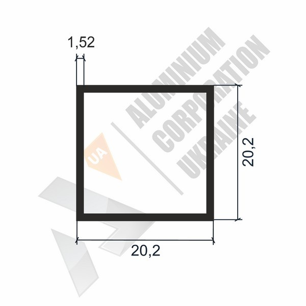 Алюминиевая труба квадратная | 20,2х20,2х1,52 - АН AP002OK-70