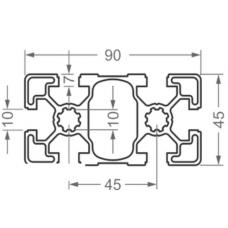 Алюминиевый станочный профиль 90х45 - АН 7894 1