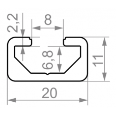 Т трек алюминиевый станочный профиль  t track <br> 20х11 - БП 00505 1