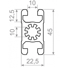 Т трек алюминиевый станочный профиль  t track <br> 22,5х45 - БП 7896 1