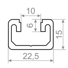 Т трек алюминиевый станочный профиль  t track <br> 22,5х15 - БП 00506 1