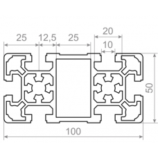 Алюминиевый станочный профиль 100х50 - БП 2566 1