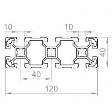 Алюминиевый станочный профиль 120х40 - БП 5574 1