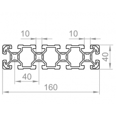 Алюминиевый станочный профиль 160х40 - БП 8967 1