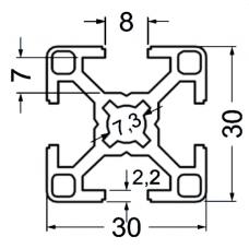 Алюминиевый станочный профиль 30х30 - АН 2568 1