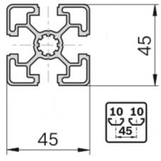 Алюминиевый станочный профиль 45х45 - АН 7897 1