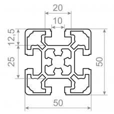 Алюминиевый станочный профиль 50х50 - БП 2565 1