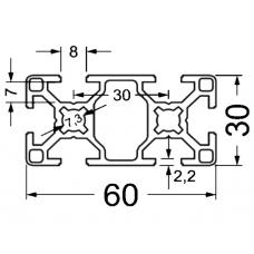 Алюминиевый станочный профиль 60х30 - АН 2568 1