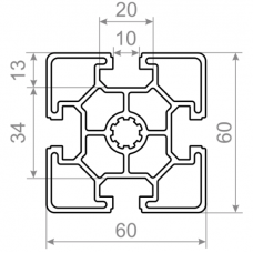 Алюминиевый станочный профиль <br> 60х60 - БП 00473 1