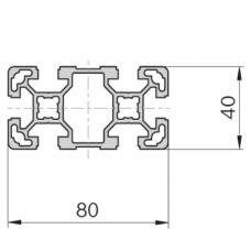 Алюминиевый станочный профиль 80х40 - БП 5698 1