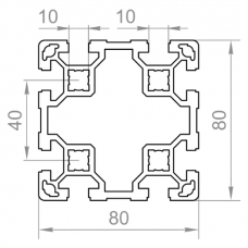 Алюминиевый станочный профиль 80х80 - АН 8570 1