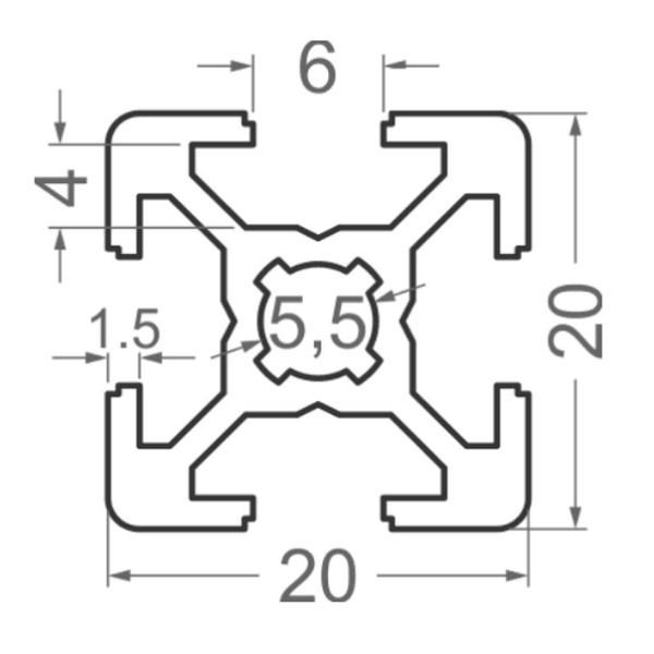 Алюминиевый станочный профиль 20х20 - БП 2589