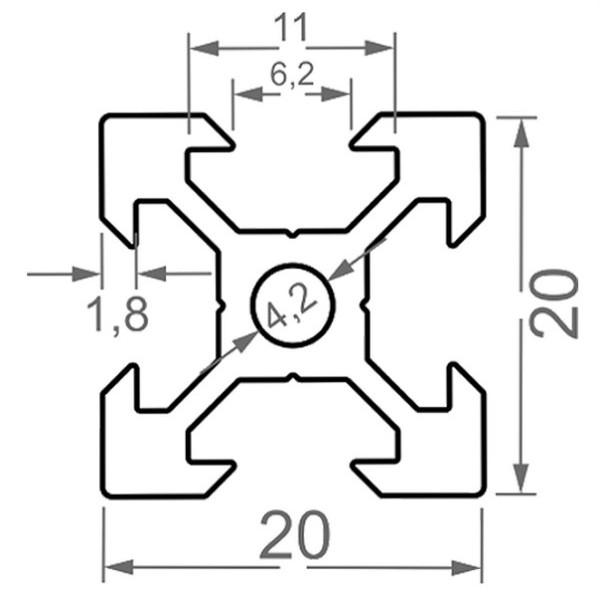 Алюминиевый станочный профиль 20х20 V-образный - БП 2899