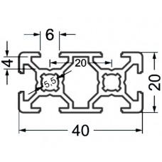Алюминиевый станочный профиль 40х20 - АН 3699 1