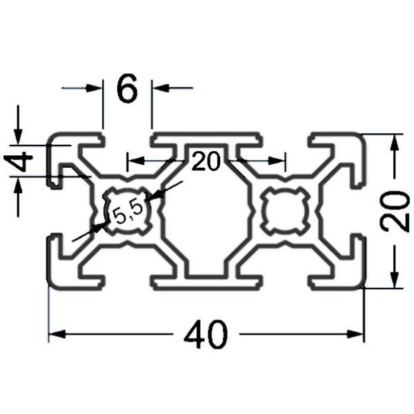 Алюминиевый станочный профиль 40х20 - БП 3698