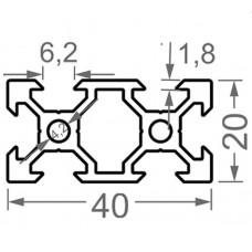 Алюминиевый станочный профиль 40х20 V-образный - АН 3896 1