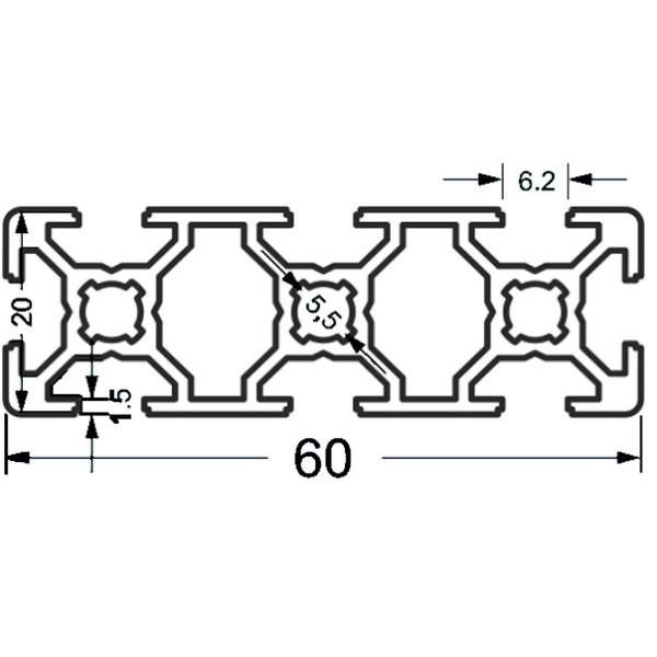 Алюминиевый станочный профиль 60х20 - БП 3897