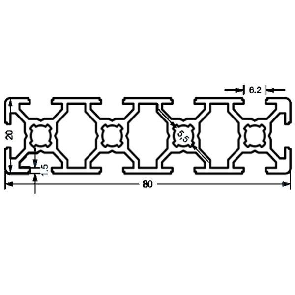 Алюминиевый станочный профиль 80х20 - БП 3556