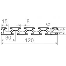 Т трек алюминиевый станочный профиль  t track <br> 120х15 - БП 00587 1