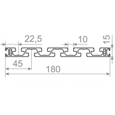 Алюминиевый станочный профиль  t track 180х15 - БП 5633 1