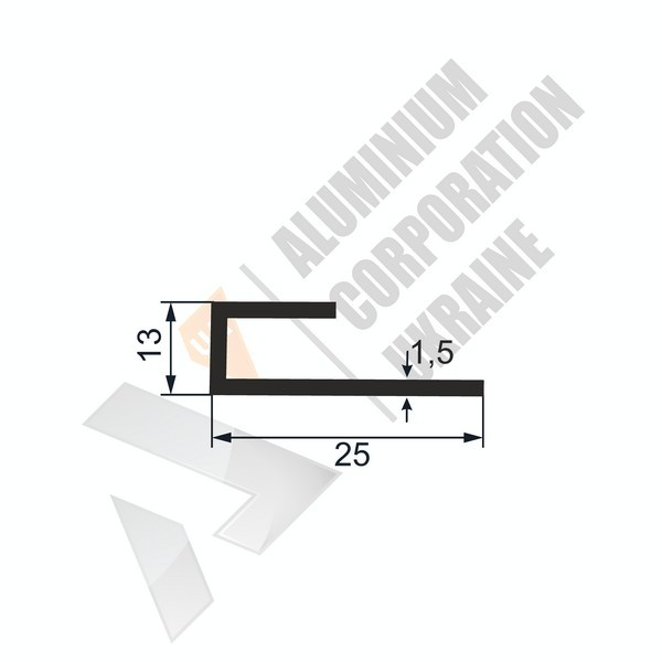 Алюминиевый профиль L-образный | 25х13х1,5 - БП chi