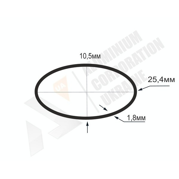 Алюминиевая труба овальная 25,4x10,5x1,8 - АН БПЗ-1154