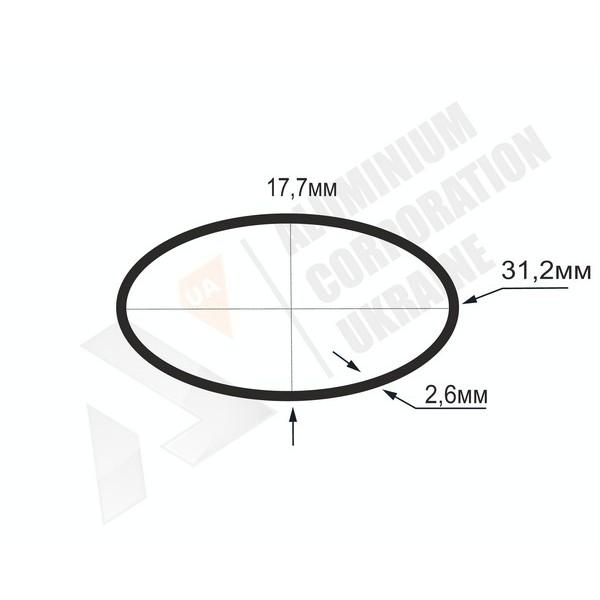 Алюминиевая труба овальная 31,2x17,7x2,6 - БП БПЗ-1048