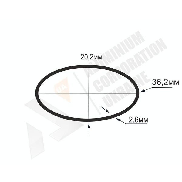 Алюминиевая труба овальная 36,2x20,2x2,6 - АН БПЗ-0945