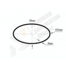Алюмінієва труба овальна <br> 42х28х6 - БП 07-0020 1