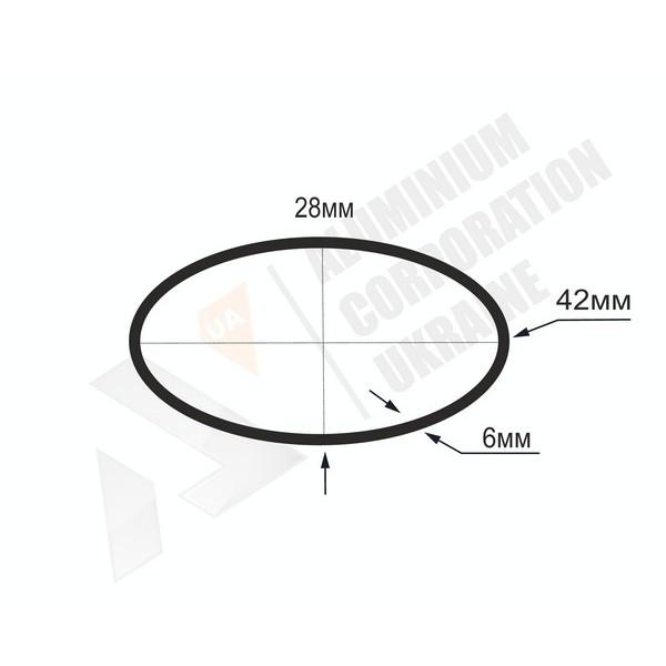 Алюминиевая труба овальная | 42х28х6 - АН 08-0020