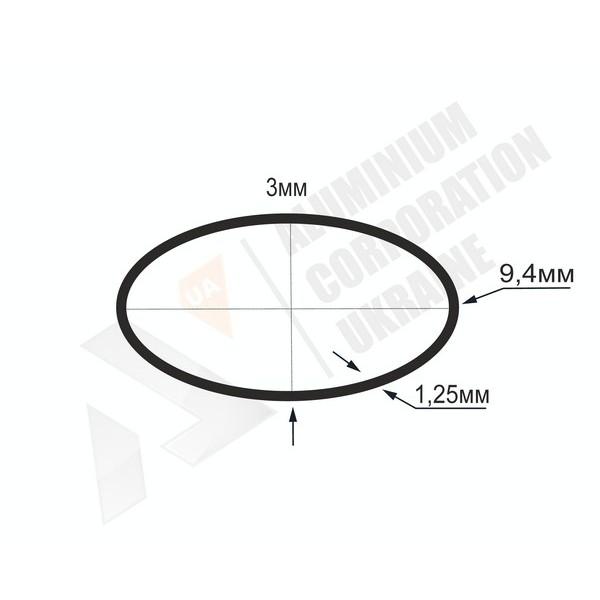 Алюминиевая труба овальная 9,4х3х1,25 - АН БПЗ-1306