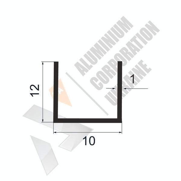 Алюминиевый швеллер П-образный профиль | 10х12х1 (8мм) - БП 11-0022