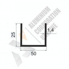 Алюминиевый швеллер П-образный профиль 50х25х1.4 - АН 0201 1