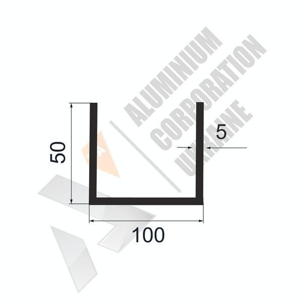 Алюминиевый швеллер П-образный профиль   100х50х5 - АН 28-0624