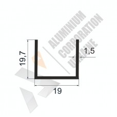 Алюминиевый швеллер П-образный профиль <br> 19х19,7х1,5 - БП 00143 1