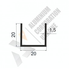 Алюминиевый швеллер П-образный профиль 20х20х1,5 - БП 00086 1
