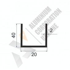 Алюминиевый швеллер П-образный профиль 20х40х2 - АН 00270 1