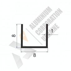 Алюминиевый швеллер П-образный профиль <br> 8х8х1 - АН 00386 1